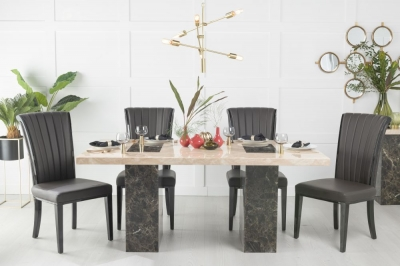 Urban Deco Vienna 180cm Cream and Brown Marble Dining Table and 6 Cadiz Black Chairs