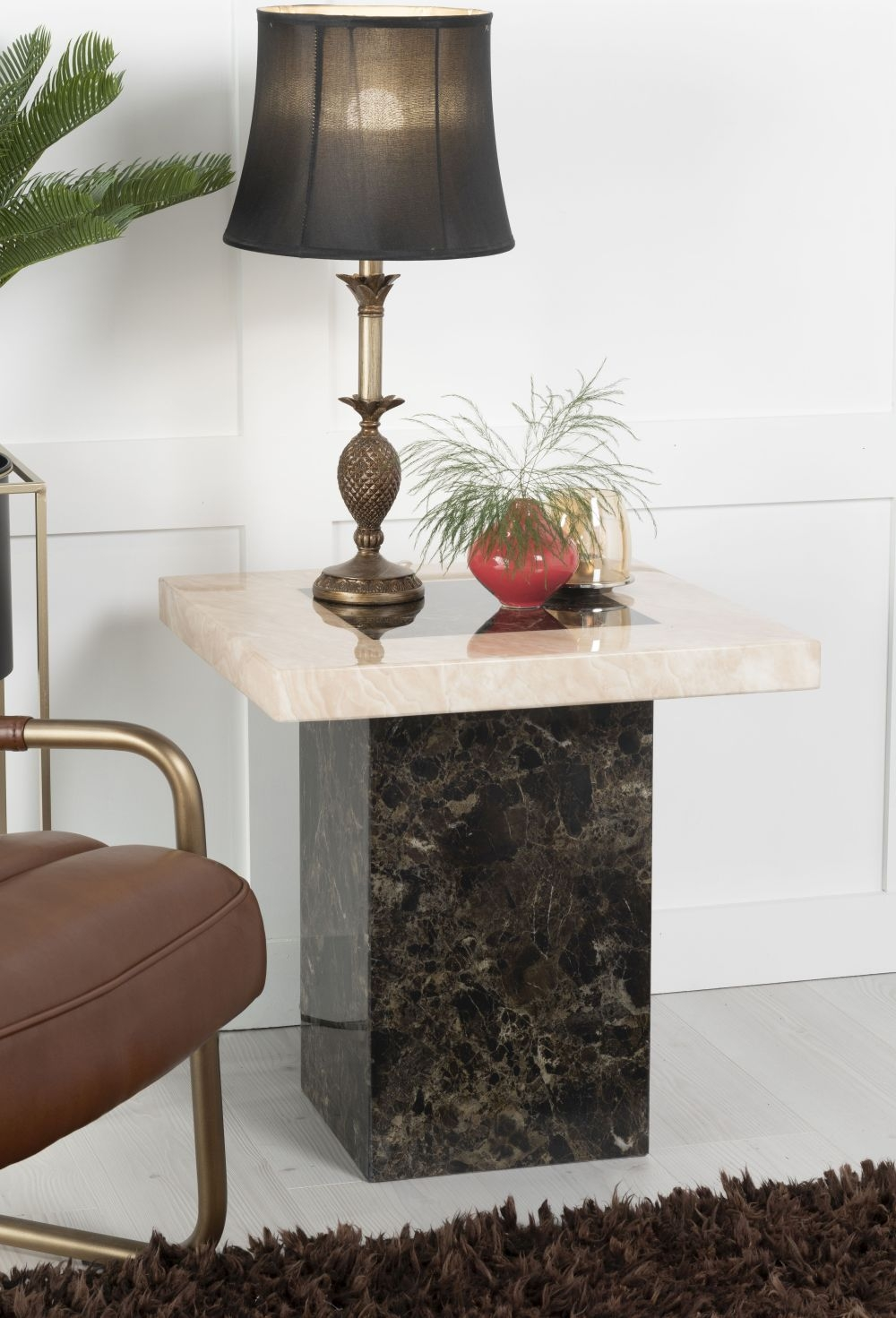 Urban Deco Vienna Cream and Brown Marble Side Table