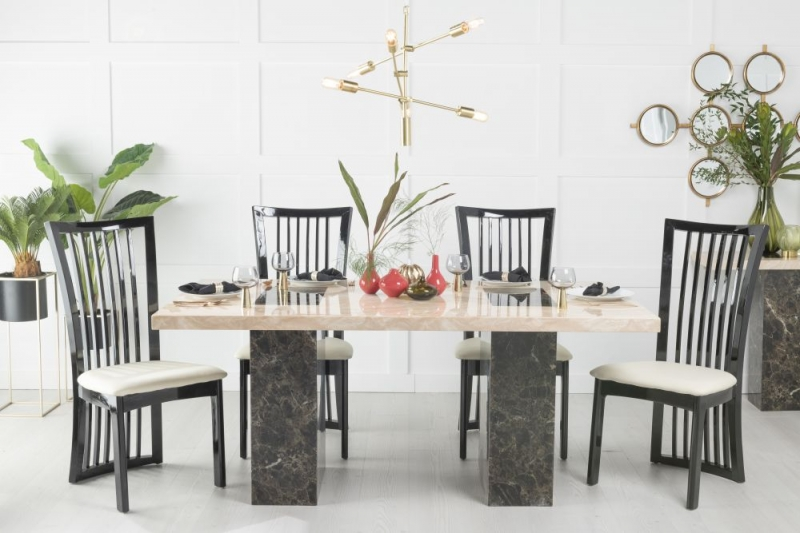 Buy Urban Deco Vienna Cream and Brown Marble 180cm Dining Table with 4 Athena Chairs and Get 2 Extra Chairs Worth £396 For FREE