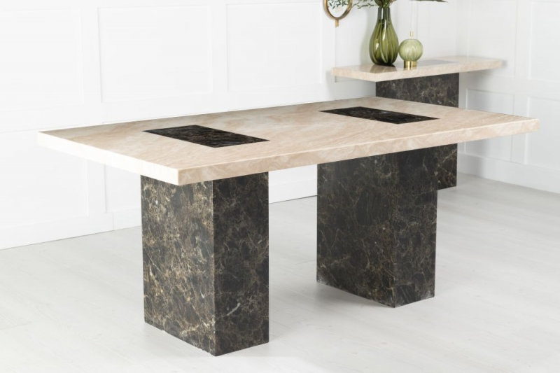 Urban Deco Vienna 180cm Cream and Brown Marble Dining Table