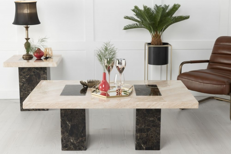 Urban Deco Vienna Cream and Brown Marble Coffee Table