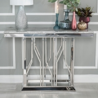 Urban Deco Vortex Console Table - Grey Marble and Stainless Steel