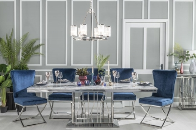 Urban Deco Vortex 220cm Grey Marble and Chrome Dining Table with 6 Lyon Blue Chairs