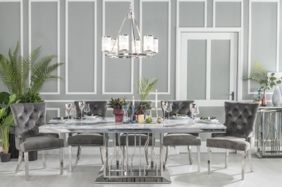 Buy Urban Deco Vortex Grey Marble and Chrome 220cm Dining Table with 6 Grey Knockerback Chrome Leg Chairs and Get 2 Extra Chairs Worth £398 For FREE