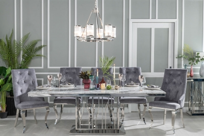 Urban Deco Vortex 200cm Grey Marble and Chrome Dining Table