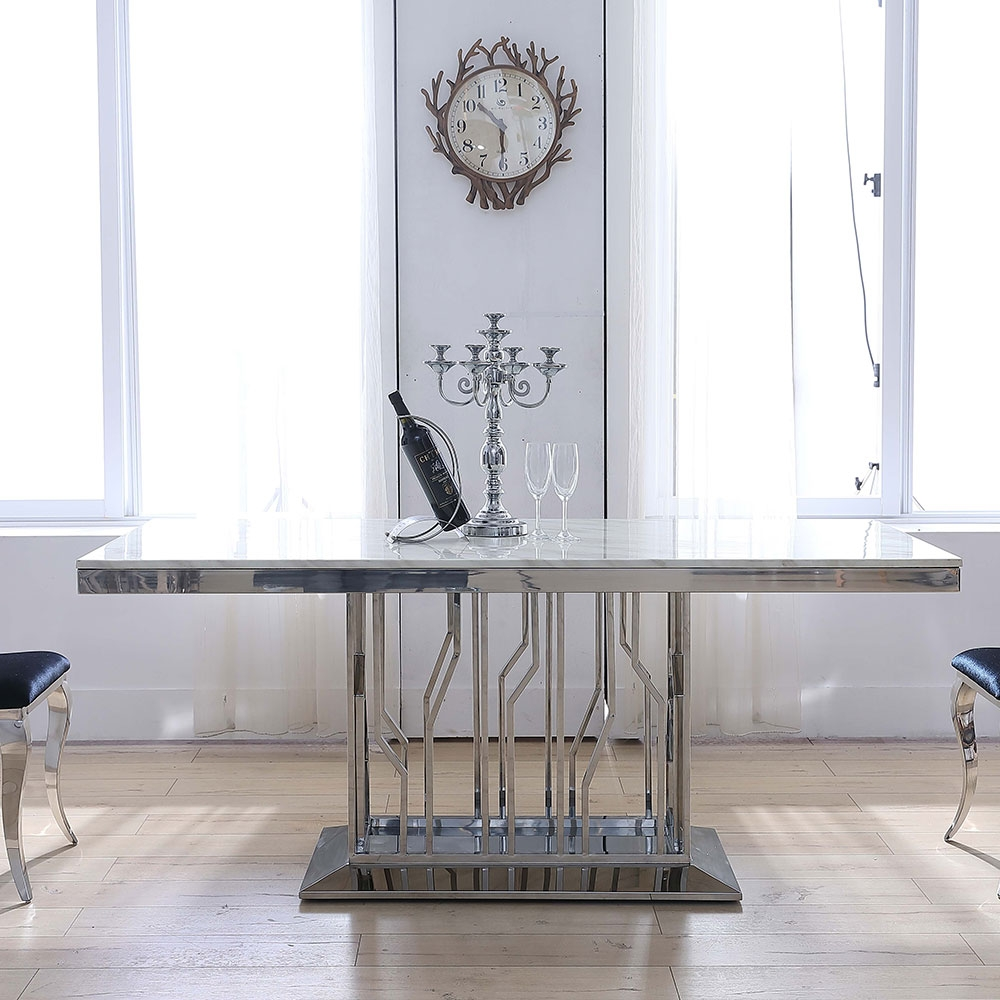 Urban Deco Vortex Dining Table - Grey Marble and Stainless Steel