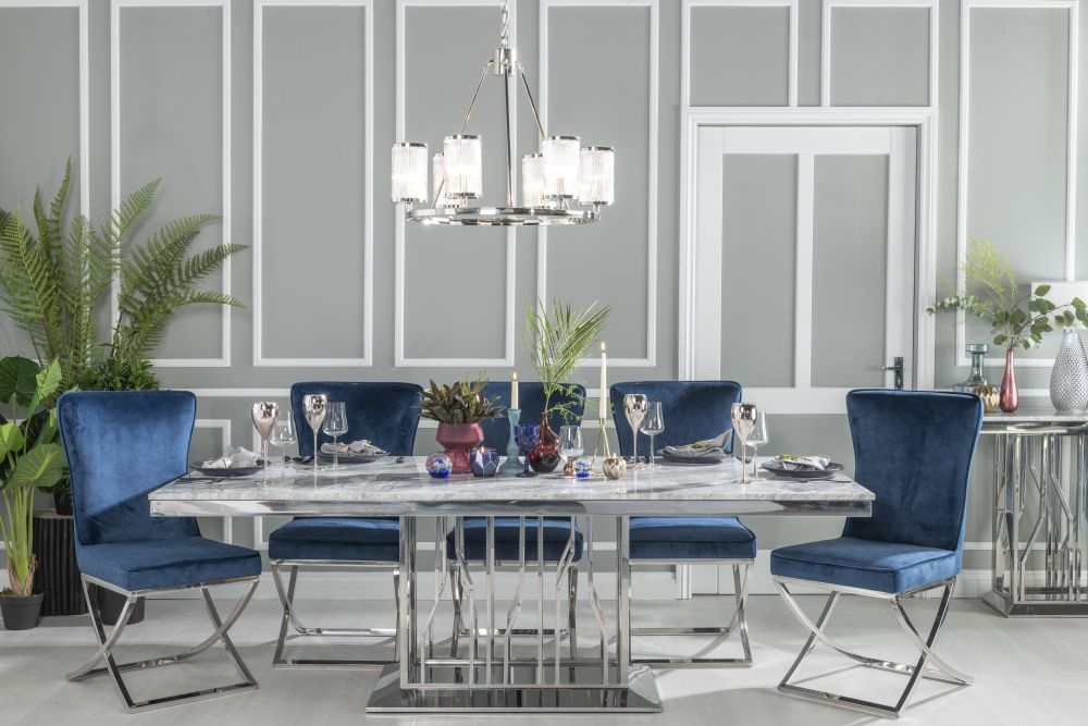 Urban Deco Vortex Dining Table with Lyon Tufted Back Blue Fabric Chairs - Grey Marble and Stainless Steel Chrome