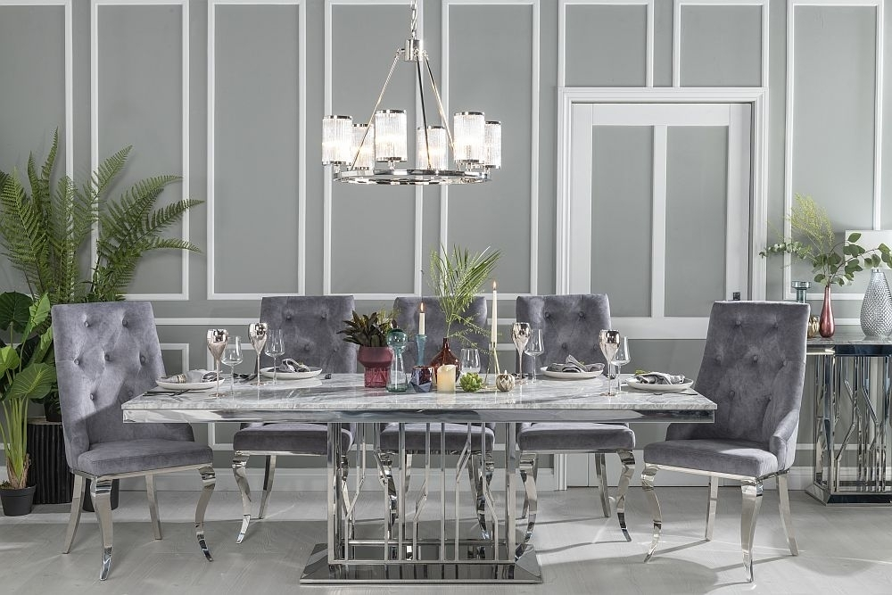 Urban Deco Vortex 220cm Grey Marble and Chrome Dining Table with 6 Premiere Grey Knockerback Chairs