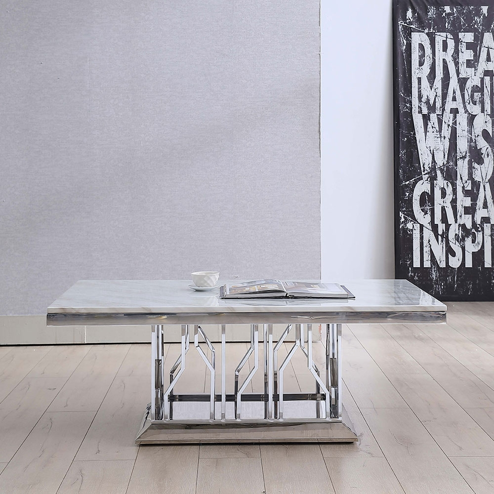 Urban Deco Vortex Coffee Table - Grey Marble and Stainless Steel