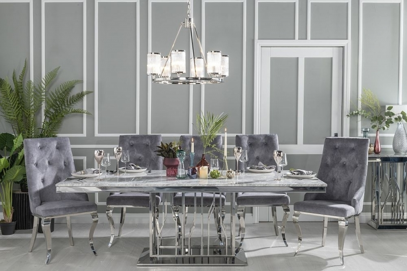 Buy Urban Deco Vortex Grey Marble and Chrome 220cm Dining Table with 6 Premiere Grey Knockerback Chairs and Get 2 Extra Chairs Worth £398 For FREE