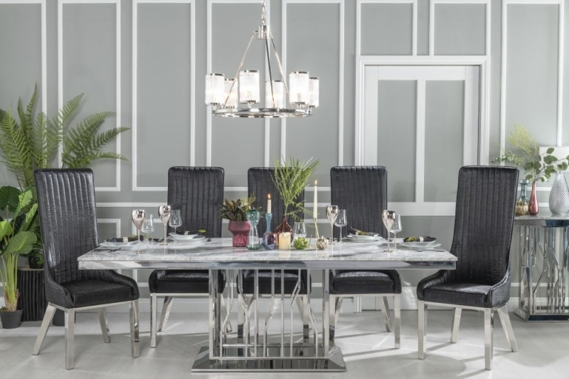Buy Urban Deco Vortex Grey Marble and Chrome 220cm Dining Table with 6 Allure Black Chairs and Get 2 Extra Chairs Worth £438 For FREE