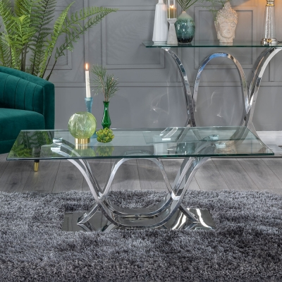 Urban Deco Wave Glass and Chrome Coffee Table