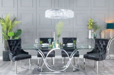Urban Deco Wave Glass and Chrome 200cm Dining Table and 6 Black Knockerback Chrome Leg Chairs