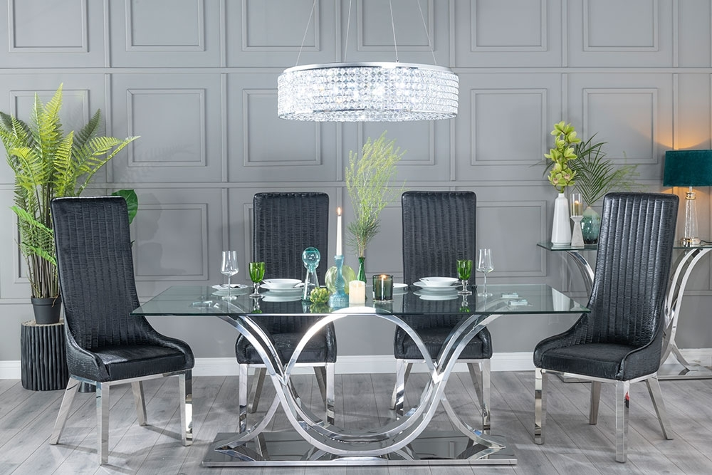 Urban Deco Wave 200cm Glass and Chrome Dining Table