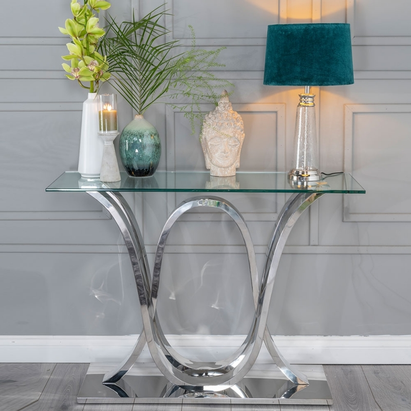 Urban Deco Wave Glass and Chrome Console Table