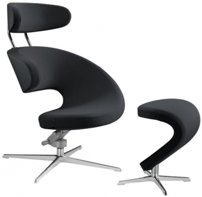 Varier Peel Chrome Base Chair with Footrest