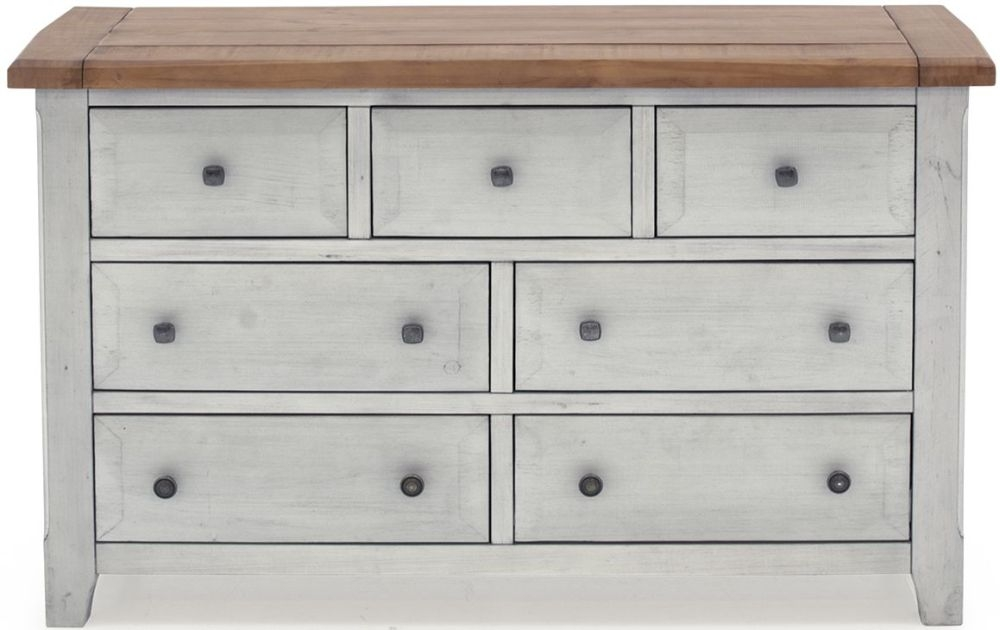 Vida Living Abingdon Antique Grey Painted 3+4 Drawer Dressing Chest