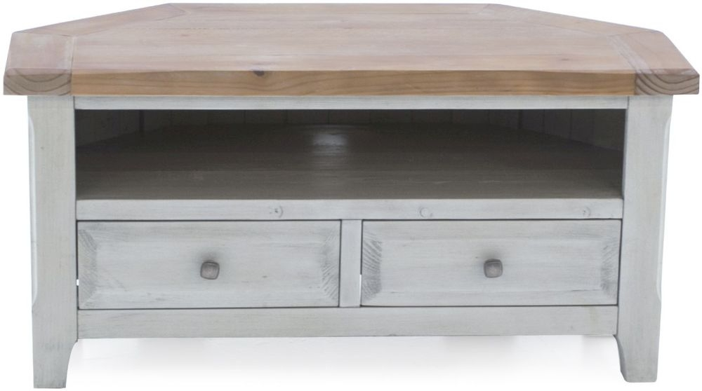Vida Living Abingdon Antique Grey Painted 2 Drawer Corner TV Unit