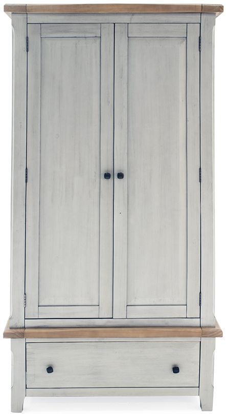 Vida Living Abingdon Antique Grey Painted 2 Door 1 Drawer Double Wardrobe