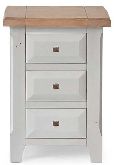 Vida Living Abingdon Antique Grey Painted 3 Drawer Bedside Cabinet