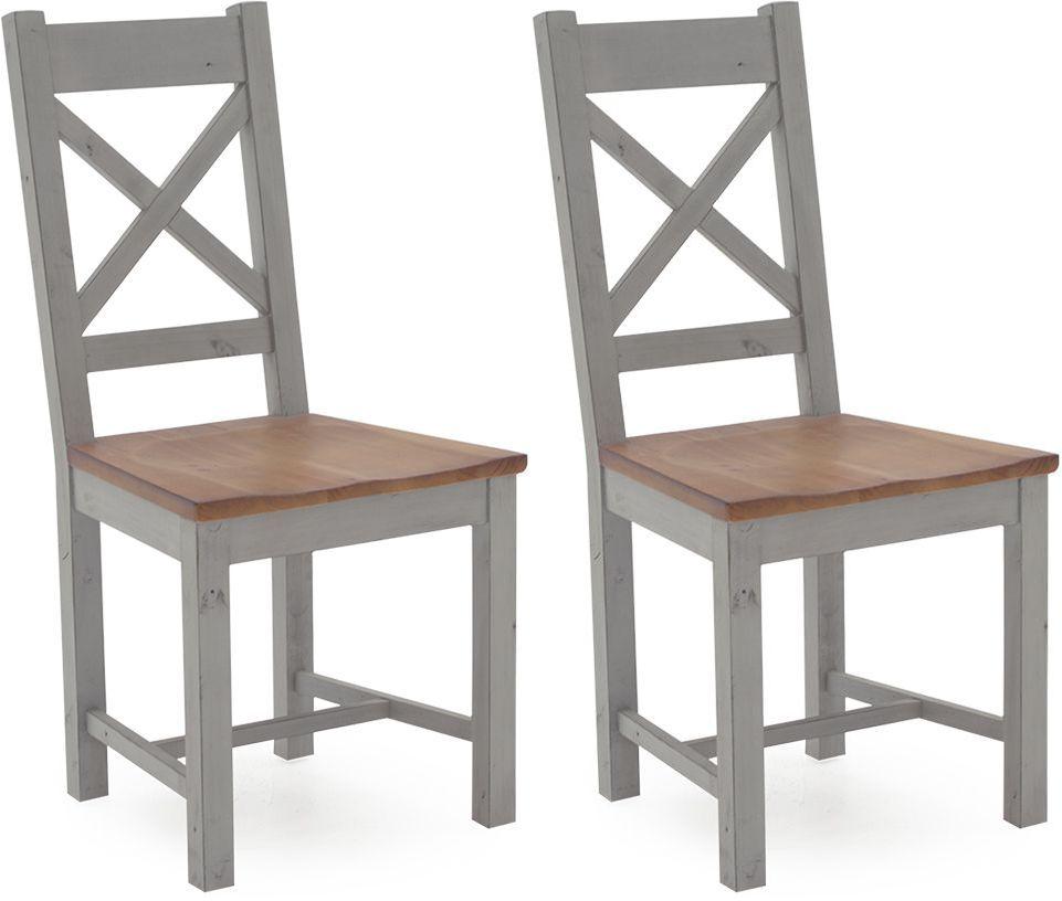 Vida Living Abingdon Antique Grey Painted Pine Dining Chair (Pair)