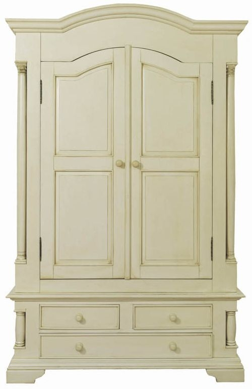 Vida Living Ailesbury Antique White Painted 2 Door 3 Drawer Wardrobe