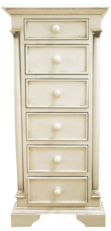 Vida Living Ailesbury Antique White Painted 6 Drawer Slim Chest