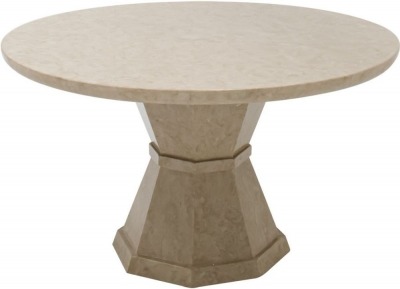 Vida Living Alfredo 130cm Beige Marble Round Dining Table