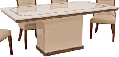 Vida Living Alfredo 120cm Beige Marble Dining Table