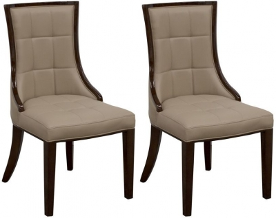 Vida Living Alfredo Latte Faux Leather Dining Chair (Pair)