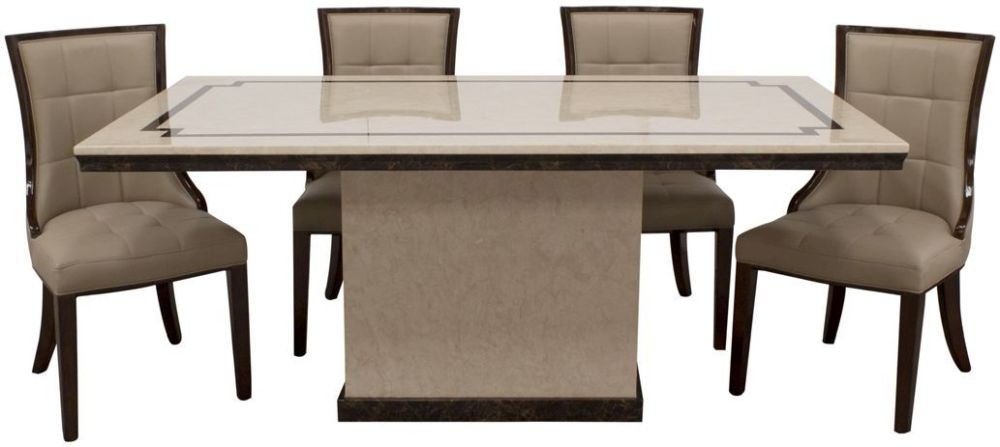 Vida Living Alfredo Beige Marble Large Dining Table