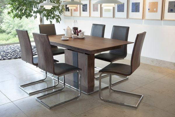 Vida Living Almara Walnut Dining Set - Extending with 6 Chairs