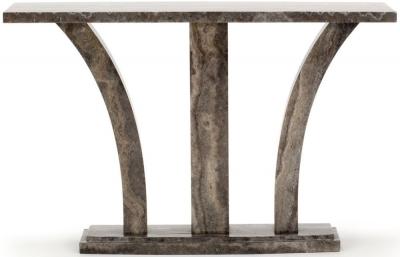 Vida Living Amalfi High Gloss Pearl Grey Marble Console Table