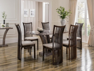 Vida Living Amalfi Marble Pearl Grey Dining Set - Large with 6 Marco Stone Fabric Chairs