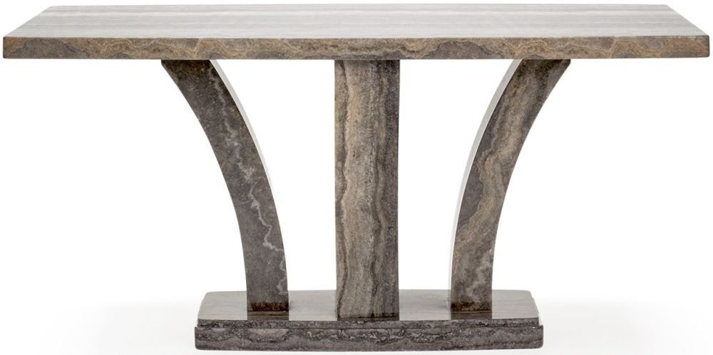 Vida Living Amalfi High Gloss Pearl Grey Marble Rectangular Dining Table - 160cm