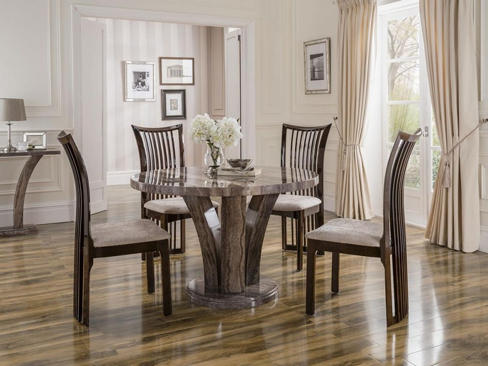 Vida Living Amalfi Marble Pearl Grey Dining Set - Round with 4 Marco Stone Fabric Chairs