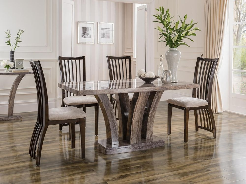 Vida Living Amalfi Marble Pearl Grey Dining Set - Small with 4 Elgin Stone Fabric Chairs