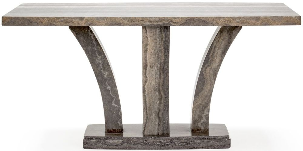 Vida Living Amalfi Marble Pearl Grey Rectangular Fixed Top Dining Table - 180cm