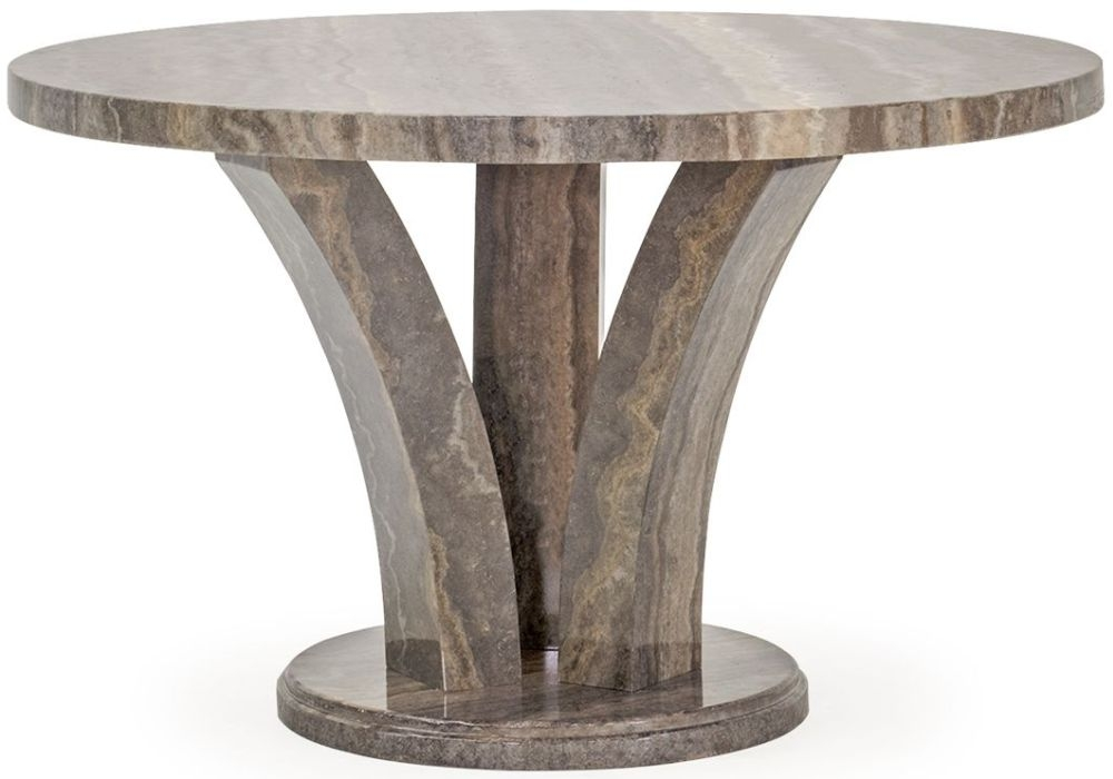 Vida Living Amalfi Marble Pearl Grey Round Fixed Top Dining Table - 125cm