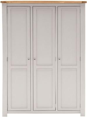 Vida Living Amberly Grey Painted 3 Door Wardrobe