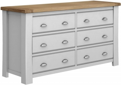 Vida Living Amberly 6 Drawer Chest - Oak and Grey Painted