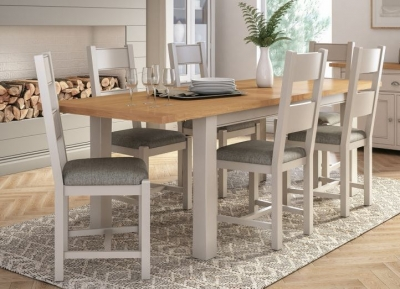 Vida Living Amberly Small Extending Dining Table - Oak and Grey Painted
