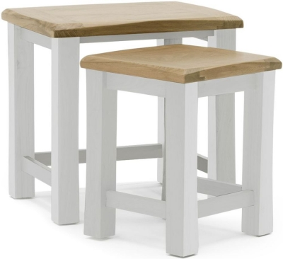 Vida Living Amberly Nest of 2 Tables - Oak and Grey Painted