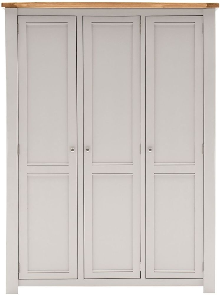 Vida Living Amberly 3 Door Wardrobe - Oak and Grey Painted