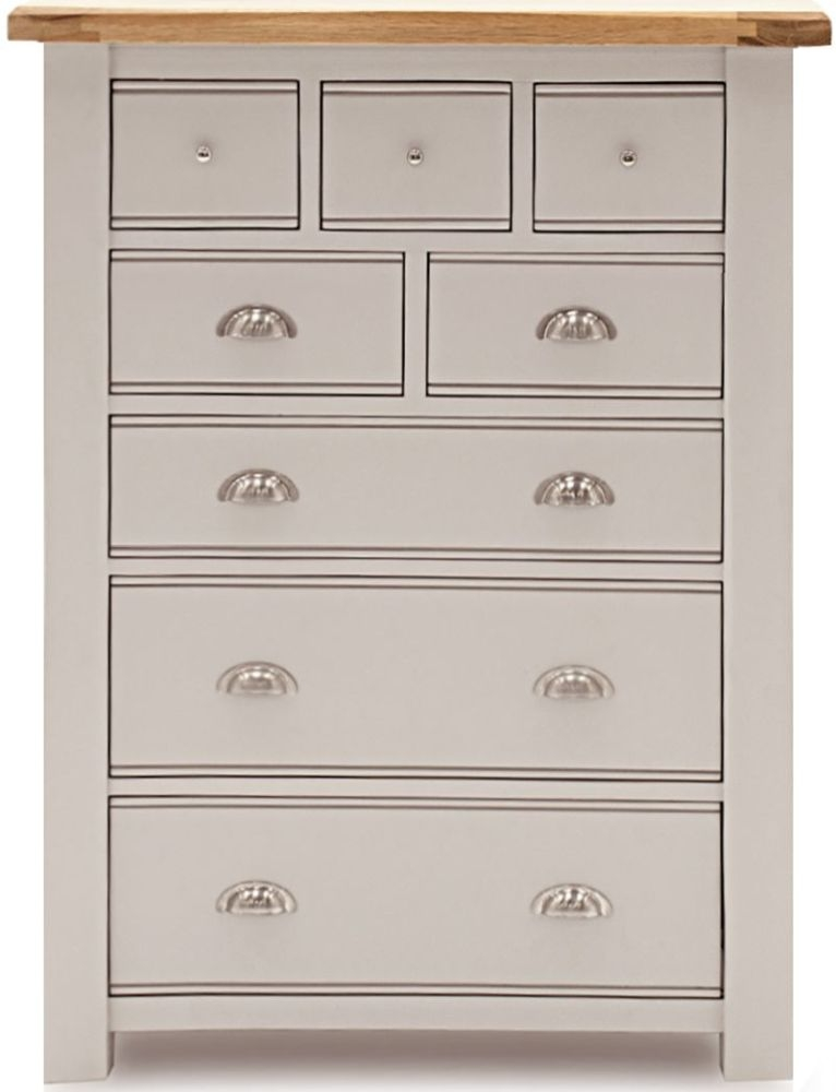 Vida Living Amberly 8 Drawer Tall Chest - Oak and Grey Painted