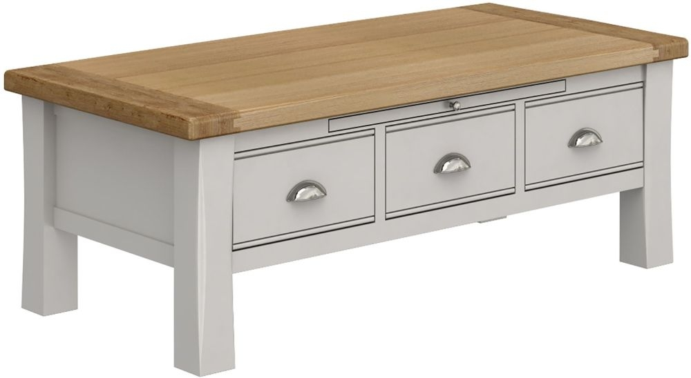 Vida Living Amberly Coffee Table - Oak and Grey Painted