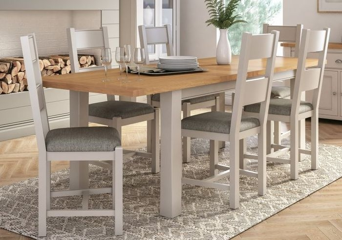 Vida Living Amberly Extending Dining Table - Oak and Grey Painted