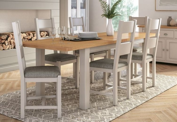 Vida Living Amberly Large Extending Dining Table - Oak and Grey Painted