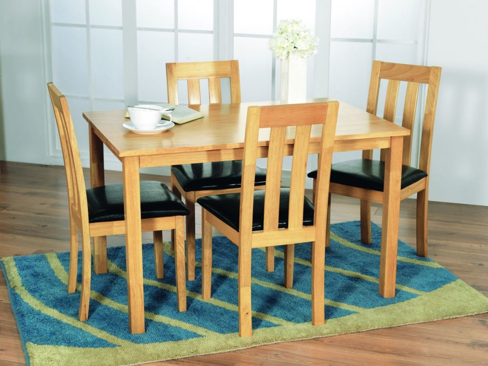 Vida Living Annecy Oak Dining Set  - 120cm Rectangular Fixed Top with 4 Chairs
