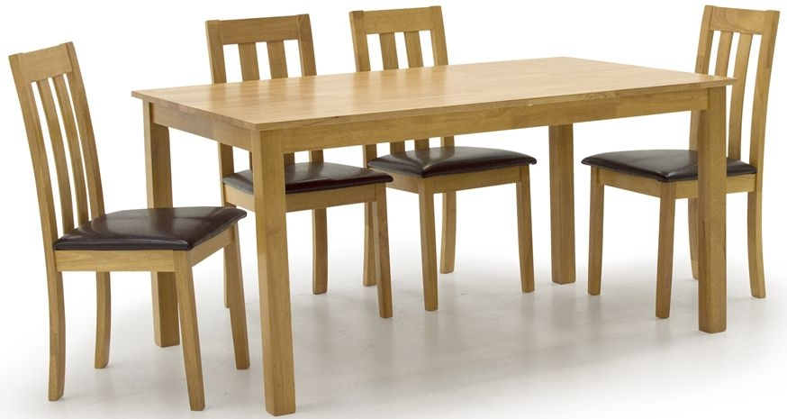 Vida Living Annecy Oak Dining Set - 150cm Rectangular Fixed Top with 6 Chairs